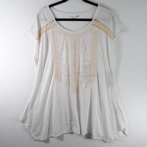 RXB Size XL White Tunic Cream Crochet Detail